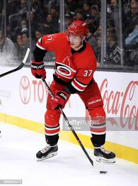 Andrei Svechnikov of the Carolina Hurricanes looks to pass during the game against the Los Angeles Kings at Staples Center on December 2, 2018 in Los...