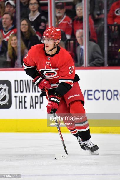 Andrei Svechnikov of the Carolina Hurricanes moves the puck against the Edmonton Oilers during the first period at PNC Arena on February 16, 2020 in...