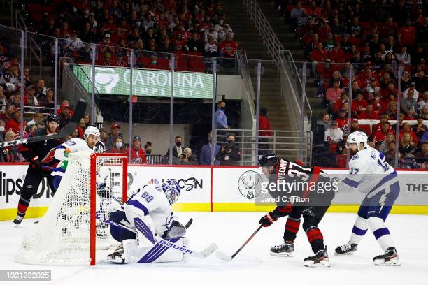 Andrei Svechnikov of the Carolina Hurricanes scores a goal against Andrei Vasilevskiy of the Tampa Bay Lightning during the third period in Game Two...