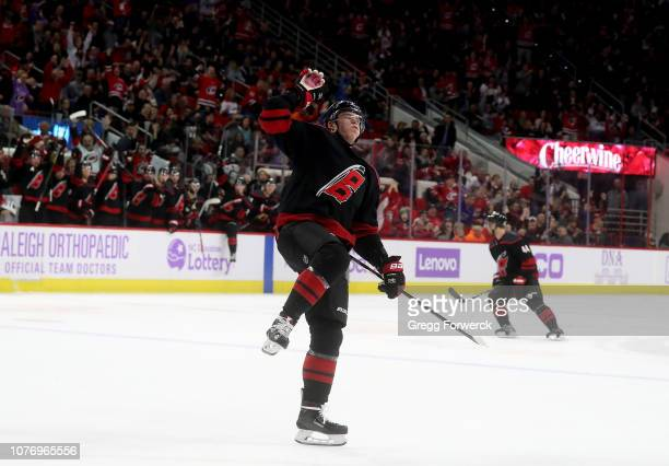 Andrei Svechnikov of the Carolina Hurricanes scores a goal and celebrates during an NHL game against the Anaheim Ducks on November 30 2018 at PNC...