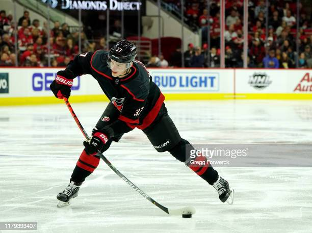 Andrei Svechnikov of the Carolina Hurricanes shoots the puck during an NHL game against the Detroit Red Wings on November 1, 2019 at PNC Arena in...