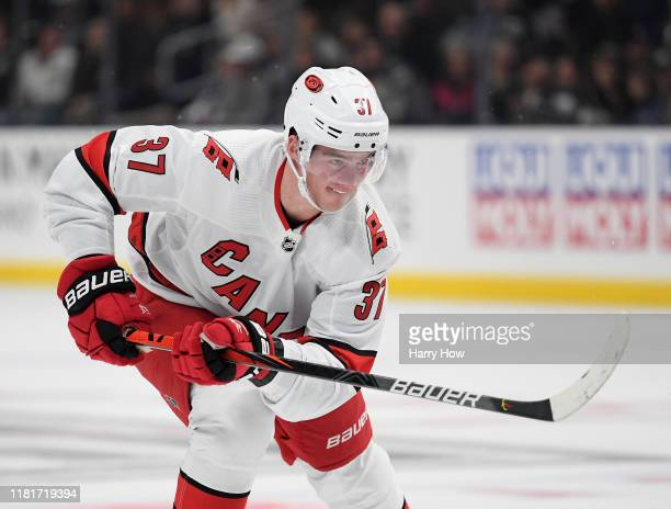 Andrei Svechnikov of the Carolina Hurricanes skates after a shoot in during a 2-0 Hurricanes win over the Los Angeles Kings at Staples Center on...