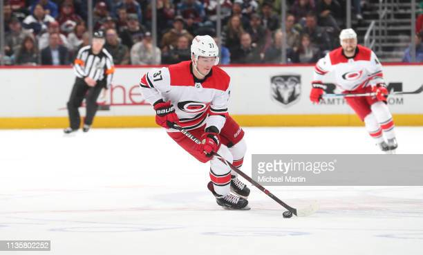 Andrei Svechnikov of the Carolina Hurricanes skates against the Colorado Avalanche at the Pepsi Center on March 11 2019 in Denver Colorado The...