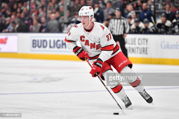 Andrei Svechnikov of the Carolina Hurricanes skates against the Columbus Blue Jackets on October 24, 2019 at Nationwide Arena in Columbus, Ohio.