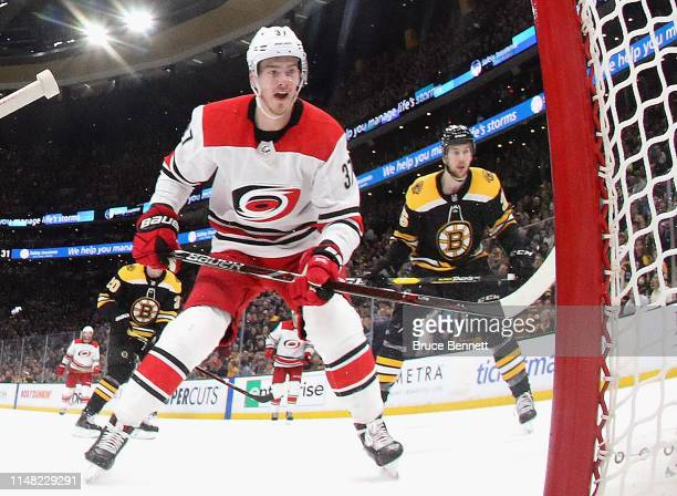 Andrei Svechnikov of the Carolina Hurricanes skates against the Boston Bruins in Game One of the Eastern Conference Final during the 2019 NHL Stanley...