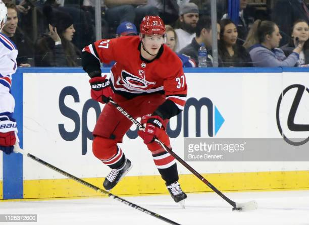 Andrei Svechnikov of the Carolina Hurricanes skates against the New York Rangers at Madison Square Garden on February 08 2019 in New York City The...