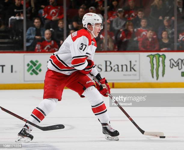 Andrei Svechnikov of the Carolina Hurricanes skates during an NHL hockey game against the New Jersey Devils on December 29 2018 at the Prudential...