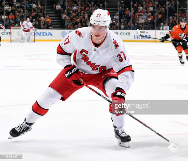 Andrei Svechnikov of the Carolina Hurricanes skates during the game against the Anaheim Ducks at Honda Center on October 18, 2019 in Anaheim,...
