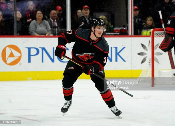 Andrei Svechnikov of the Carolina Hurricanes skates for position during an NHL game against the Vegas Golden Knights on January 31, 2020 at PNC Arena...