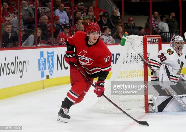 Andrei Svechnikov of the Carolina Hurricanes skates near the end line during an NHL game against the Chicago Blackhawks on November 12 2018 at PNC...