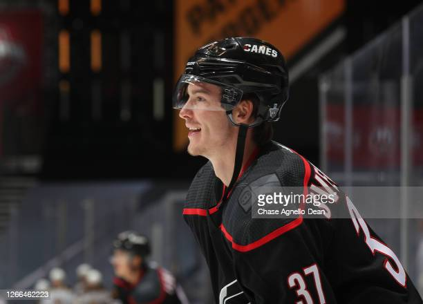 Andrei Svechnikov of the Carolina Hurricanes warms up before Game Three of the Eastern Conference First Round of the 2020 NHL Stanley Cup Playoff...