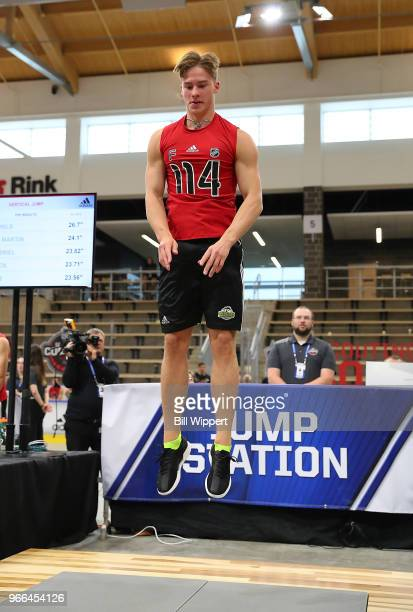 Andrei Svechnikov performs at the jump station during the NHL Scouting Combine on June 2 2018 at HarborCenter in Buffalo New York