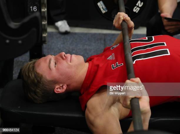 Andrei Svechnikov performs the bench press during the NHL Scouting Combine on June 2 2018 at HarborCenter in Buffalo New York