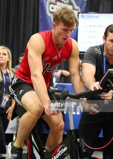 Andrei Svechnikov performs the Wingate cycle test during the NHL Scouting Combine on June 2 2018 at HarborCenter in Buffalo New York