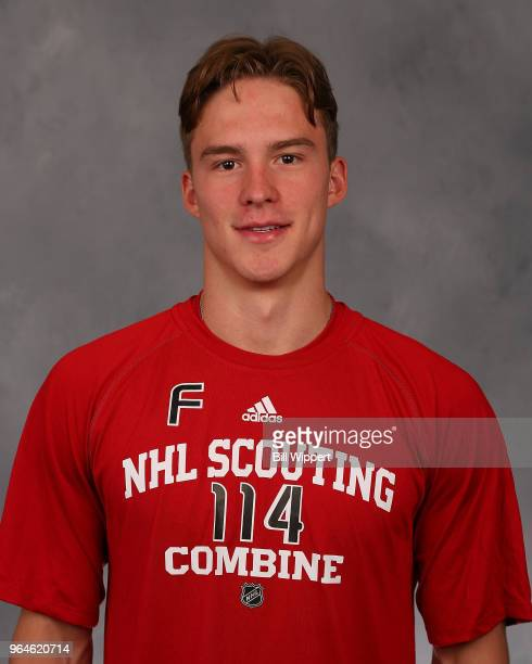 Andrei Svechnikov poses for a headshot at the NHL Scouting Combine on May 31 2018 at HarborCenter in Buffalo New York