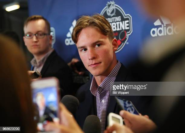 Andrei Svechnikov speaks at the Top Prospects Media Availability at the NHL Scouting Combine on June 1 2018 at HarborCenter in Buffalo New York