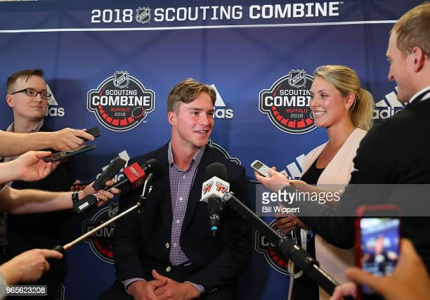Andrei Svechnikov speaks through an interpreter at the Top Prospects Media Availability at the NHL Scouting Combine on June 1 2018 at HarborCenter in...