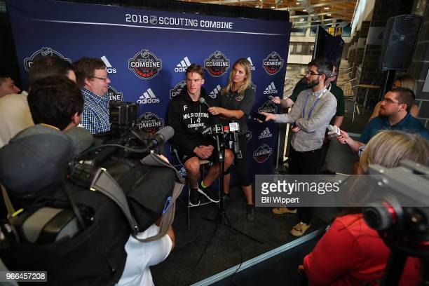 Andrei Svechnikov speaks through an interpreter to the media during the NHL Scouting Combine on June 2 2018 at HarborCenter in Buffalo New York
