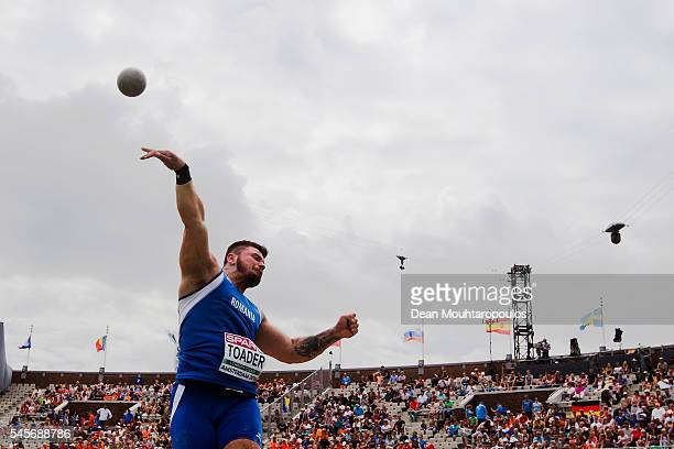 Andrei Toader of Romania in action during the qualifying round of the mens shot put on day four of The 23rd European Athletics Championships at...