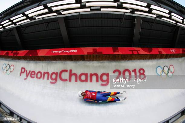Andrei Turea of Romania slides in a training session for the Men's Luge during previews ahead of the PyeongChang 2018 Winter Olympic Games at the...