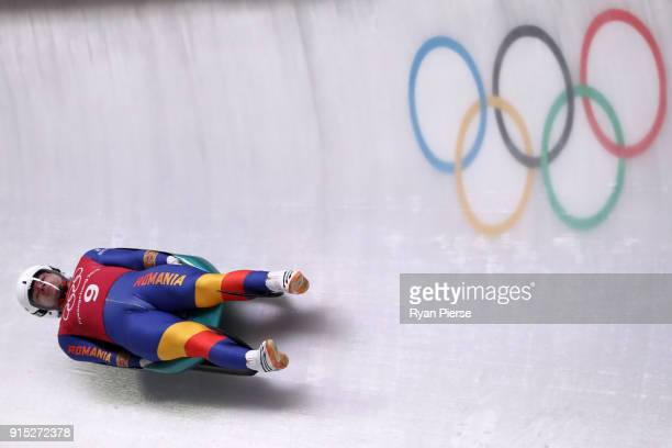 Andrei Turea of Romania trains during Luge Training ahead of the PyeongChang 2018 Winter Olympic Games at Olympic Sliding Centre on February 7 2018...