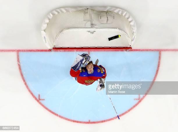 Andrei Vasilevski goaltender of Russia tends net against Finland during the 2017 IIHF Ice Hockey World Championship Bronze Medal game between Russia...