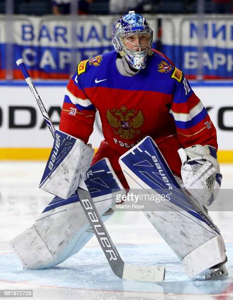 Andrei Vasilevski goaltender of Russia tends net against of Denmark during the 2017 IIHF Ice Hockey World Championship game between Russia and...