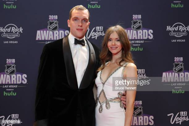 Andrei Vasilevskiy of the Tampa Bay Lightning and guest arrive at the 2018 NHL Awards presented by Hulu at the Hard Rock Hotel Casino on June 20 2018...