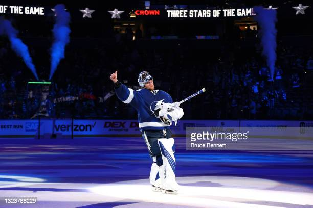 Andrei Vasilevskiy of the Tampa Bay Lightning celebrates after defeating the New York Islanders with a score of 2 to 4 in Game Two of the Stanley Cup...