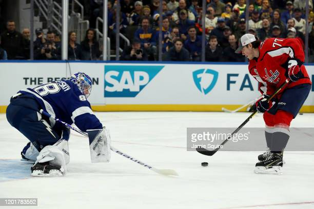 Andrei Vasilevskiy of the Tampa Bay Lightning competes against Travis Konecny of the Philadelphia Flyers in the Bud Light NHL Save Streak event for...