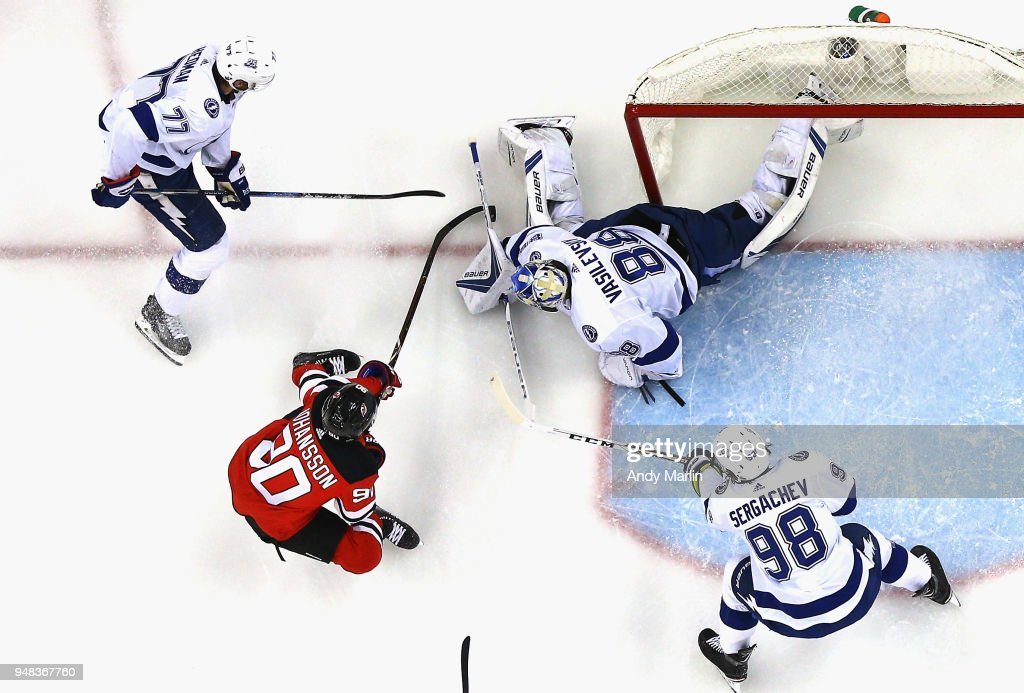 Andrei Vasilevskiy #88 of the Tampa Bay Lightning defends his net against the New Jersey Devils in Game Four of the Eastern Conference First Round during the 2018 NHL Stanley Cup Playoffs at Prudential Center on April 18, 2018 in Newark, New Jersey. The Lightning defeated the Devils 3-1.
