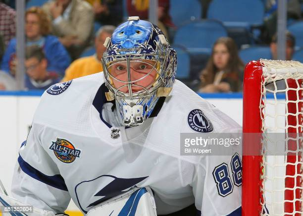 Andrei Vasilevskiy of the Tampa Bay Lightning follows the puck during the third of an NHL game against the Buffalo Sabres on November 28 2017 at...