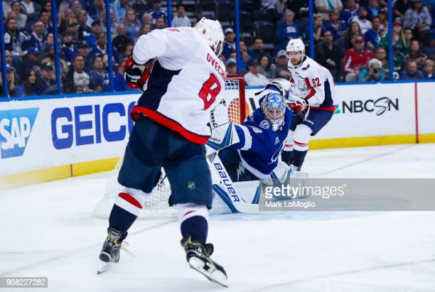 Andrei Vasilevskiy of the Tampa Bay Lightning gives up a goal against Alex Ovechkin of the Washington Capitals during Game Two of the Eastern...