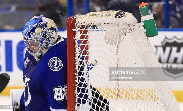 Andrei Vasilevskiy of the Tampa Bay Lightning gives up a goal during a game against the Florida Panthers at Amalie Arena on March 6 2018 in Tampa...