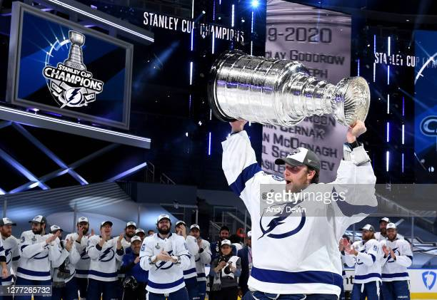 Andrei Vasilevskiy of the Tampa Bay Lightning hoists the Stanley Cup overhead after the Tampa Bay Lightning defeated the Dallas Stars 2-0 in Game Six...