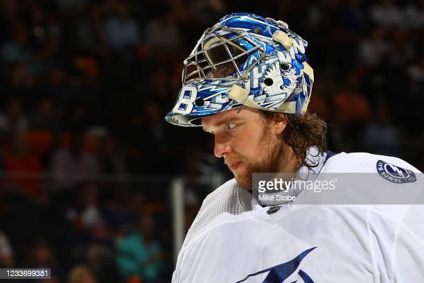 Andrei Vasilevskiy of the Tampa Bay Lightning in action against the New York Islanders in Game Six of the Stanley Cup Semifinals of the 2021 Stanley...