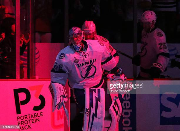 Andrei Vasilevskiy of the Tampa Bay Lightning leads his team onto the ice before Game Four of the 2015 NHL Stanley Cup Final against the Chicago...