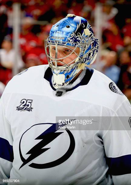 Andrei Vasilevskiy of the Tampa Bay Lightning looks on against the New Jersey Devils in Game Four of the Eastern Conference First Round during the...