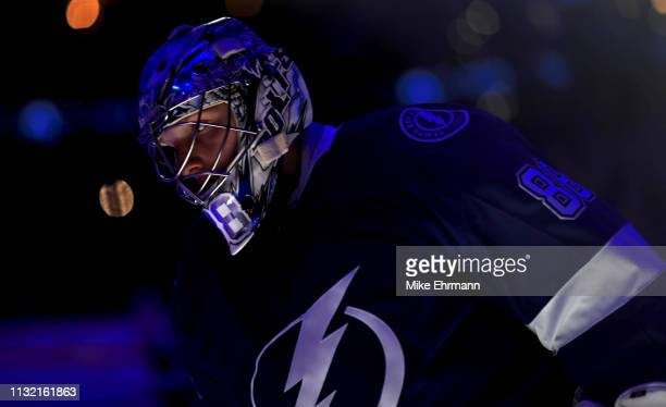 Andrei Vasilevskiy of the Tampa Bay Lightning looks on during a game against the Los Angeles Kings at Amalie Arena on February 25 2019 in Tampa...