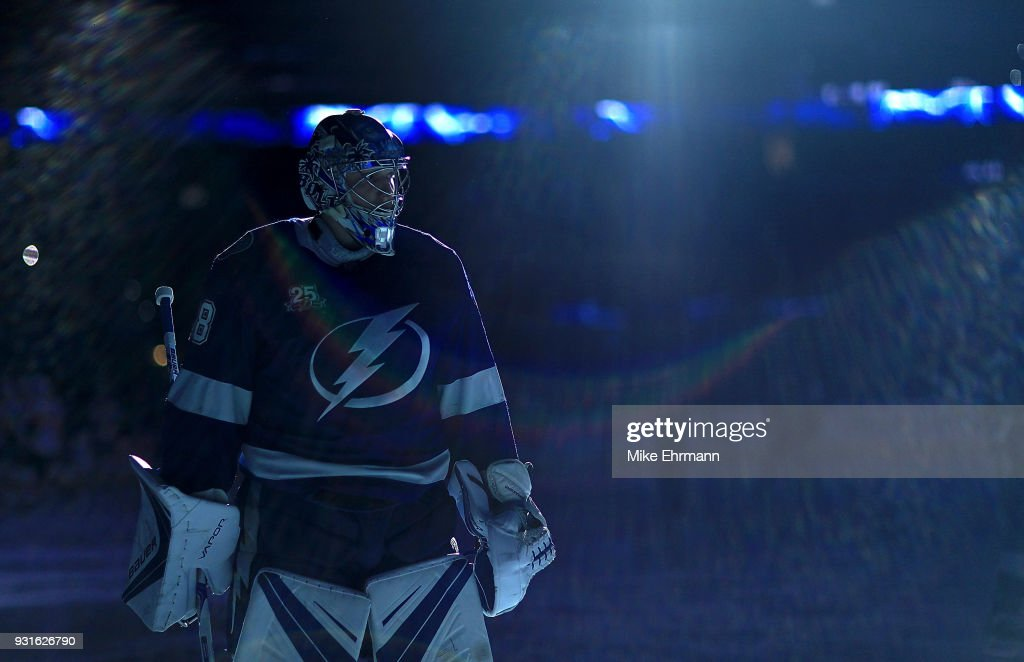 Andrei Vasilevskiy #88 of the Tampa Bay Lightning looks on during a game against the Ottawa Senators at Amalie Arena on March 13, 2018 in Tampa, Florida.