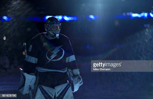 Andrei Vasilevskiy of the Tampa Bay Lightning looks on during a game against the Ottawa Senators at Amalie Arena on March 13 2018 in Tampa Florida