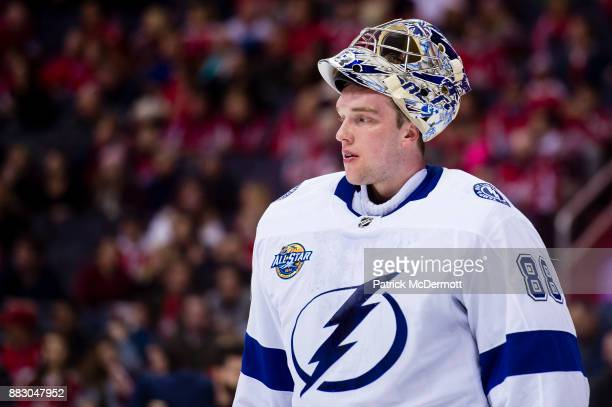 Andrei Vasilevskiy of the Tampa Bay Lightning looks on in the first period against the Washington Capitals at Capital One Arena on November 24 2017...