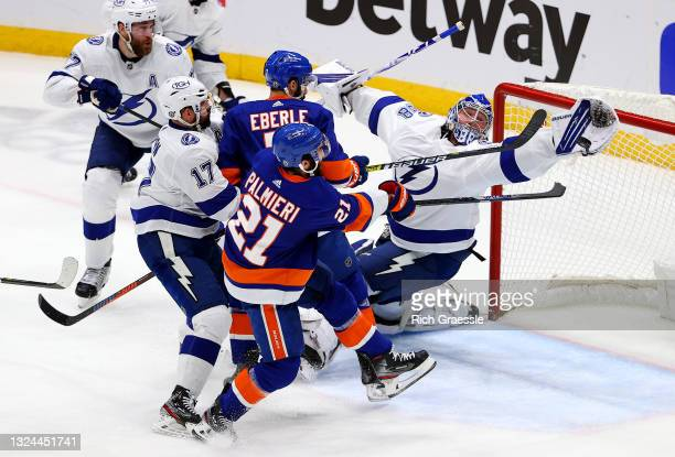 Andrei Vasilevskiy of the Tampa Bay Lightning makes a save against the New York Islanders during the first period in Game Four of the Stanley Cup...