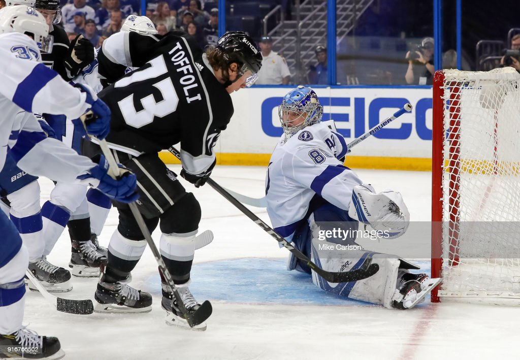Andrei Vasilevskiy #88 of the Tampa Bay Lightning makes a save against Tyler Toffoli #73 of the Los Angeles Kings at the Amalie Arena on February 10, 2018 in Tampa, Florida.