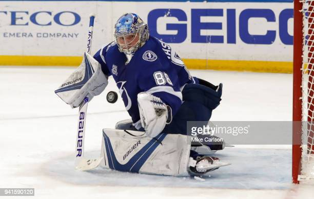 Andrei Vasilevskiy of the Tampa Bay Lightning makes a save against the Boston Bruins during the first period of the game at the Amalie Arena on April...