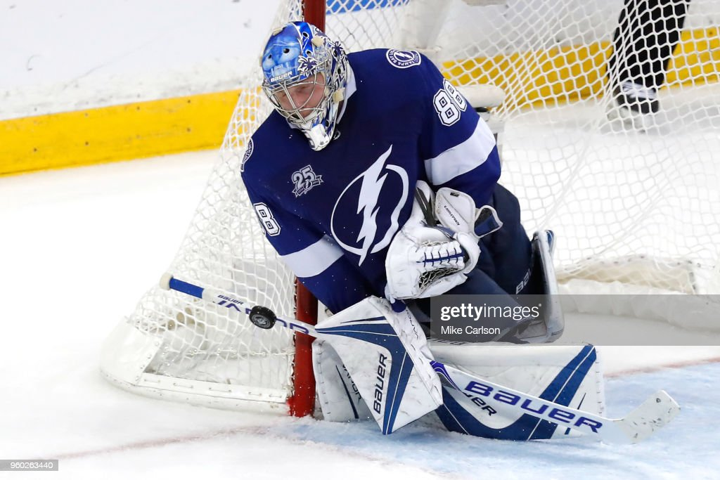 Andrei Vasilevskiy #88 of the Tampa Bay Lightning makes a save against the Washington Capitals during the third period in Game Five of the Eastern Conference Finals during the 2018 NHL Stanley Cup Playoffs at Amalie Arena on May 19, 2018 in Tampa, Florida.