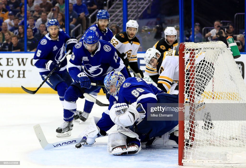 Andrei Vasilevskiy #88 of the Tampa Bay Lightning makes a save during Game Five of the Eastern Conference Second Round against the Boston Bruins during the 2018 NHL Stanley Cup Playoffs at Amalie Arena on May 6, 2018 in Tampa, Florida.
