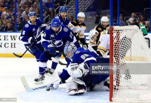 Andrei Vasilevskiy of the Tampa Bay Lightning makes a save during Game Five of the Eastern Conference Second Round against the Boston Bruins during...