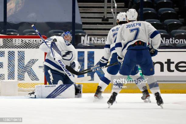 Andrei Vasilevskiy of the Tampa Bay Lightning makes a save during the first period of the game against the Columbus Blue Jackets on January 21, 2021...