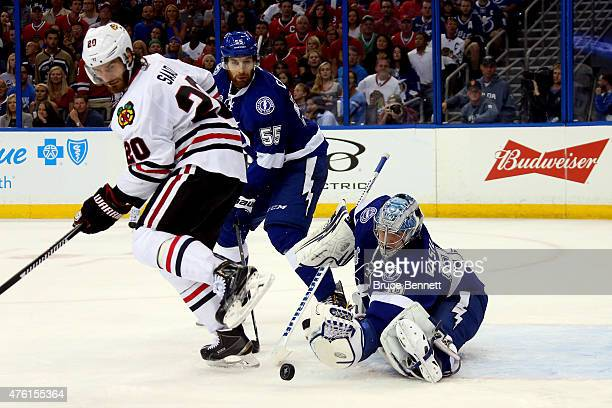 Andrei Vasilevskiy of the Tampa Bay Lightning makes a save during the third period against the Chicago Blackhawks in Game Two of the 2015 NHL Stanley...